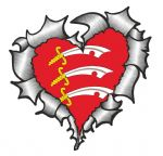 Ripped Torn Metal Heart with Essex County Flag Motif External Car Sticker 105x100mm